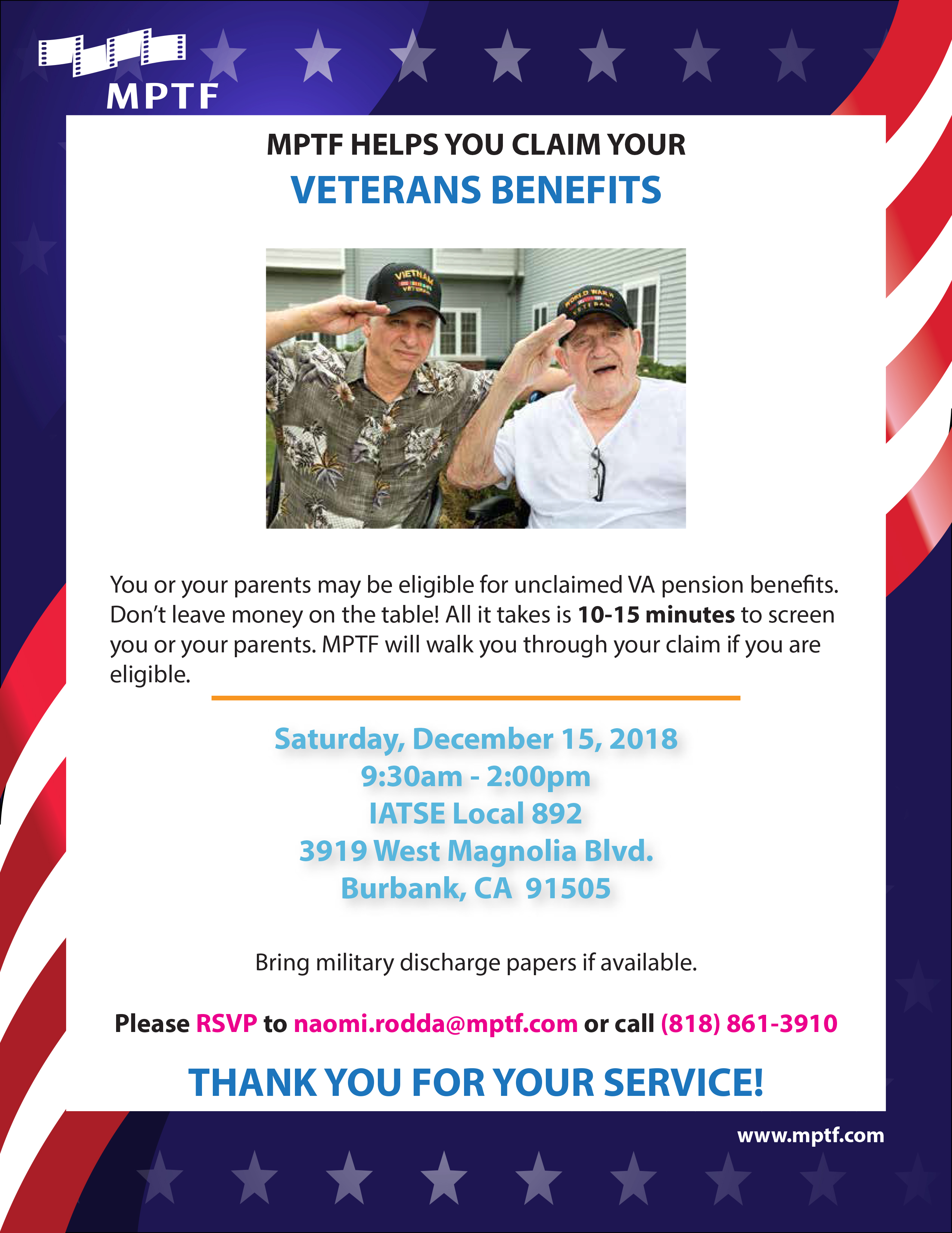 MPTF Helps you claim your Veterans Benefits